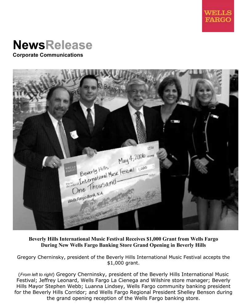Wells Fargo News Release – Beverly Hills International Music
